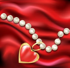 white pearl necklace on a red silk