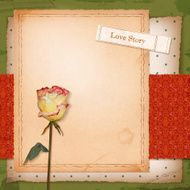 Scrapbook old paper background with dried rose