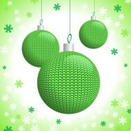 Three Green Knitted Christmas Balls