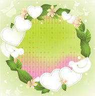 Spring background with paper decorations and green realistic foliage