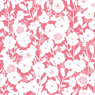 White and pink blossoms seamless pattern background N2
