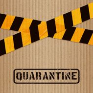 cardboard with printed packing tape and icons quarantine
