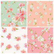 Set of Spring Blossom Flowers Background N2