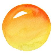 Watercolor Orange Circle (Clipping Path)