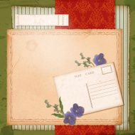 Scrapbook old paper background with dried flower N2