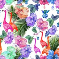 Seamless pattern watercolor tropical flowers palm tree and birds N2