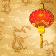 Chinese Red Lantern on Dragon Background