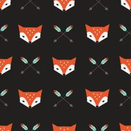 Seamless vector pattern with fox and arrows N2