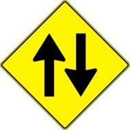 two way, traffic sign with arrows