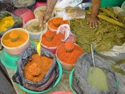 colorful spices in street market