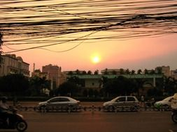 city evening landscape in Vietnam