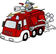 painted fire truck cartoon on white background