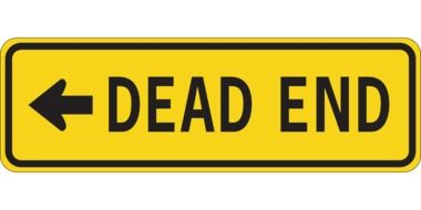 yellow sign of dead end