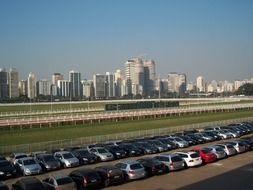 panorama of parking near the racetrack in Sao Paulo