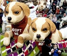 plush dogs in a basket