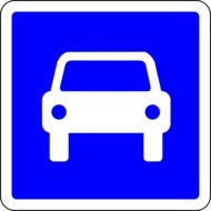 car parking, blue road sign