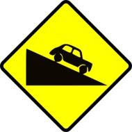caution steep slope road sign