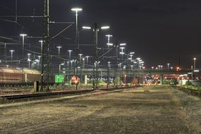train at freight station at night