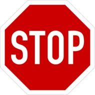 red sign with the word stop on a white background