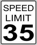 white road speed limit sign