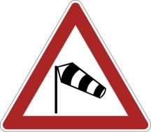 road sign about side wind