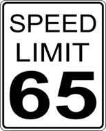 65 kilometers speed limit road sign