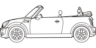 Black and white drawing of the car clipart