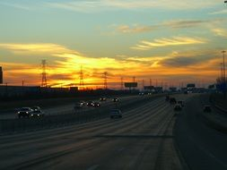 sunset and motorway