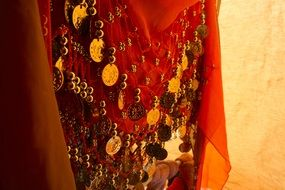 scarf with gold coins close up