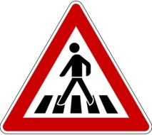 pedestrian crossing road sign on a white background