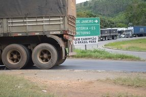truck stands on a road in brazil