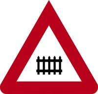 road sign railway crossing germany
