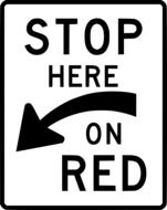 traffic sign stop here on red