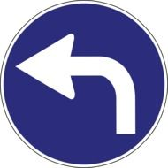 turning arrow on blue sign