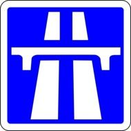 picture of white and blue road sign