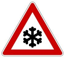 snow sign on the road