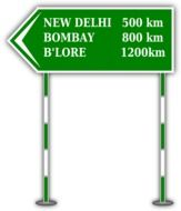 green distance road sign in India