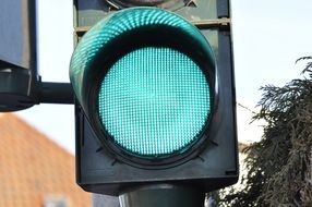 Traffic light with green signal close-up