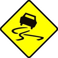 road sign slippery road