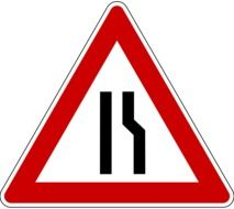 traffic sign one-way narrowing of the carriageway