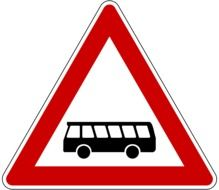 red road sign with a bus