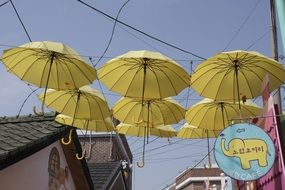 umbrella yellow street