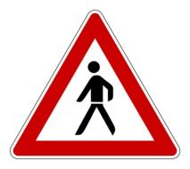 road sign with pedestrian on white background