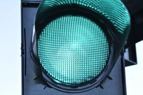 Street traffic signal with green signal