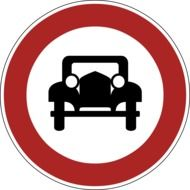 prohibition sign for driving on old cars