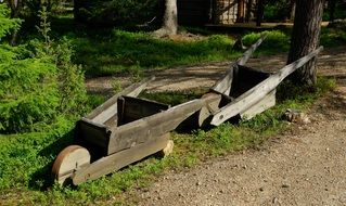 two wooden garden cars