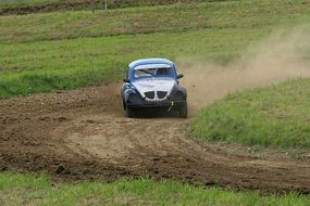 racing car on the turn in autocross