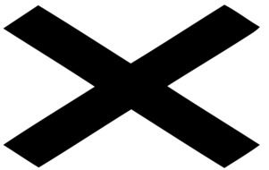 road sign black cross on a white background
