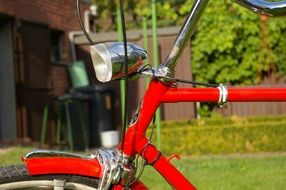 Side view of a red bicycle