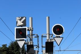 traffic lights for trains on a sunny clear day